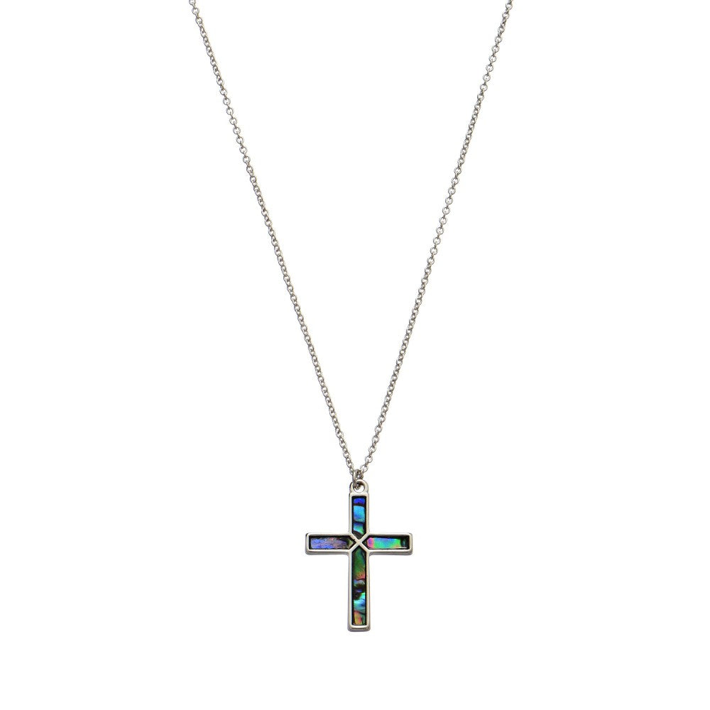 Abalone Cross Necklace - RoseabellaCo