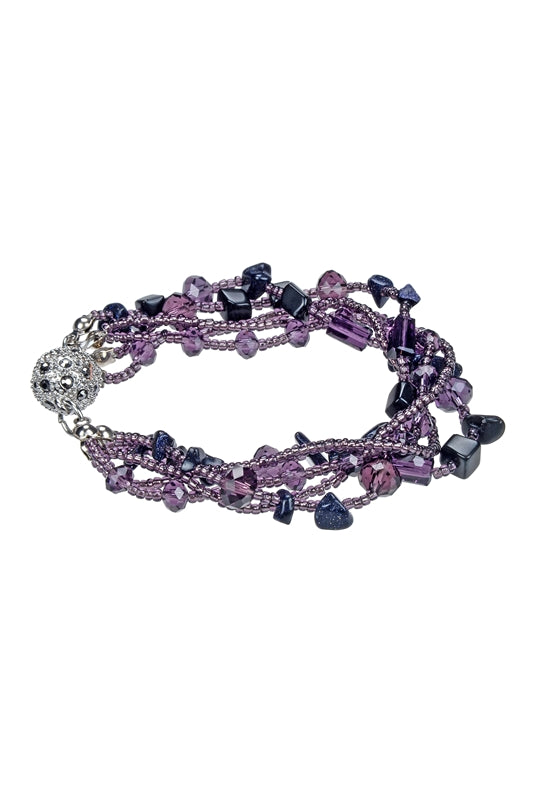 Purple Strand Crystal Bracelet Set - Roseabella