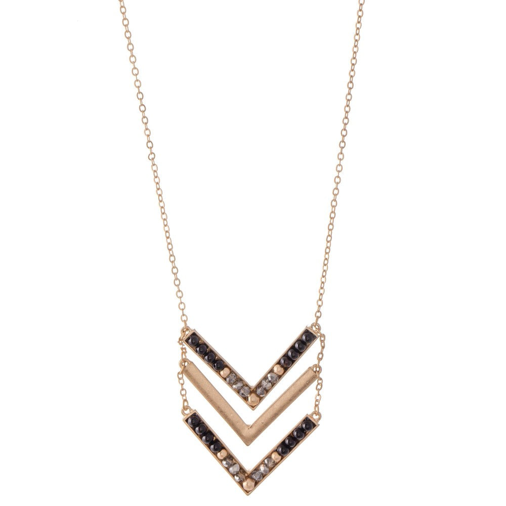 Chevron Beaded Necklace - Roseabella