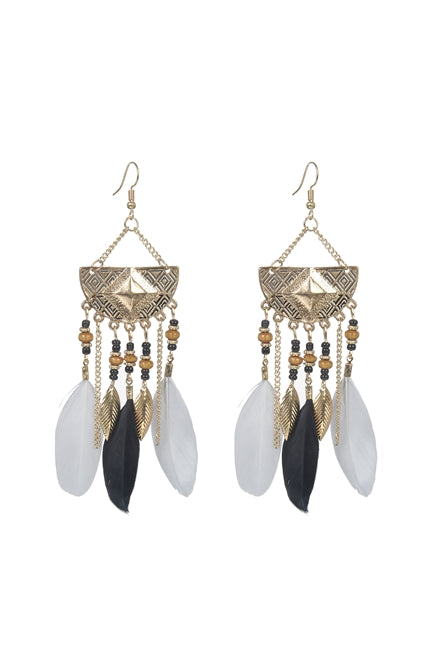 Bohemian Ethnic Feather Earrings - RoseabellaCo