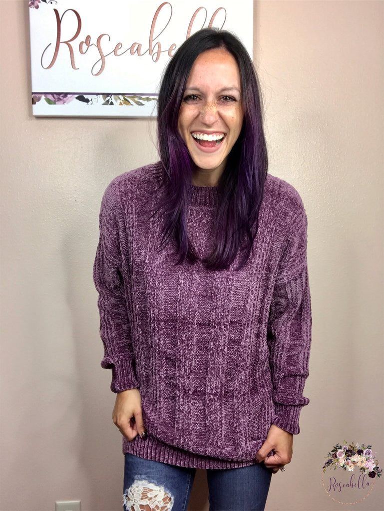 2XL & 3XL ONLY Eggplant Chenille Sweater - RoseabellaCo