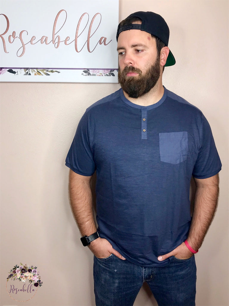 M & L ONLY Men's Heathered Navy Henley Shirt - RoseabellaCo
