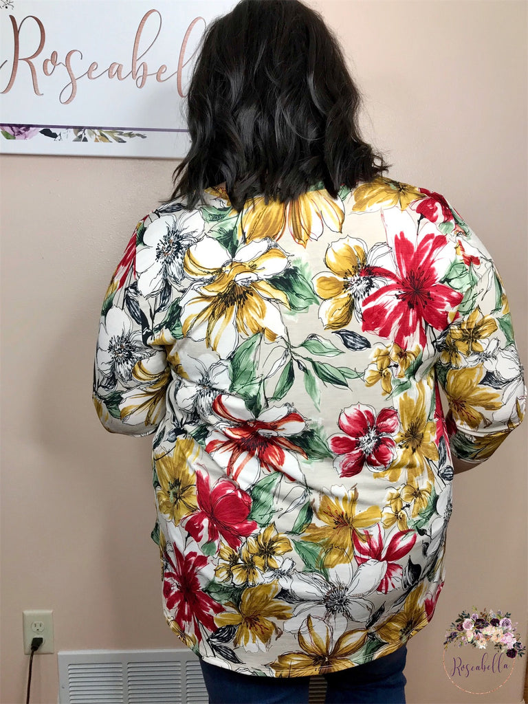 S & XL ONLY Painted Lilies Top - RoseabellaCo