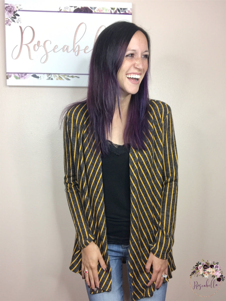 S & M ONLY Striped Hacci Cardigan - RoseabellaCo