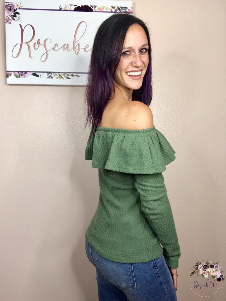 XL ONLY Olive Ruffle Top - RoseabellaCo