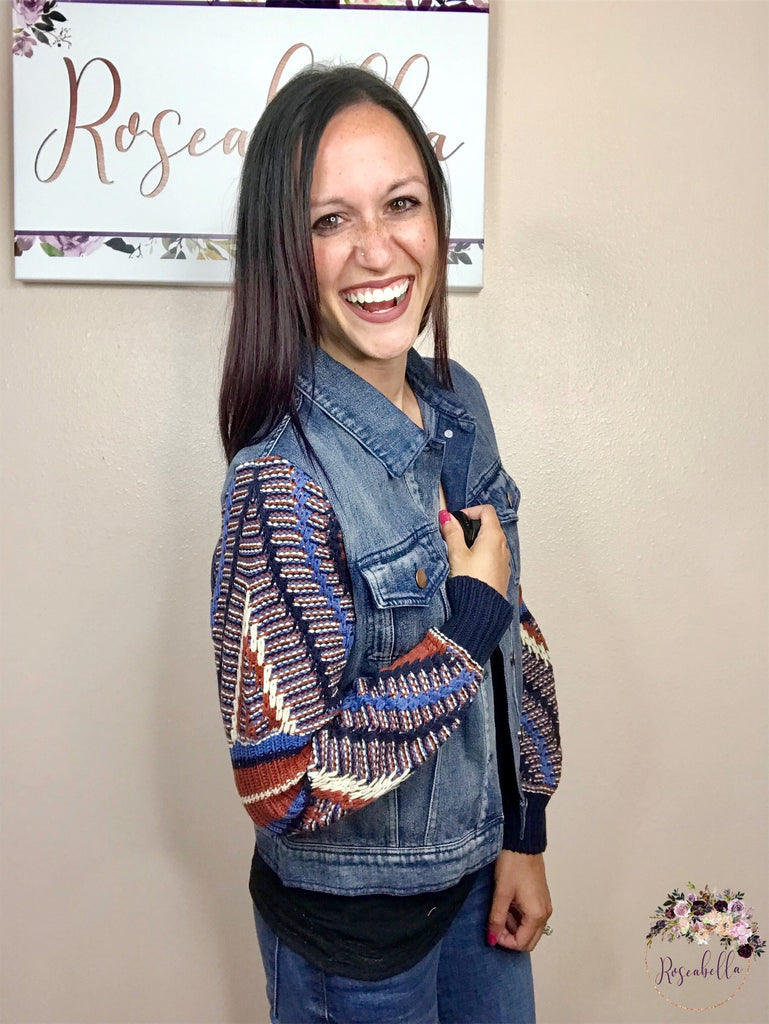 Medium ONLY Navajo Inspired Denim Jacket - RoseabellaCo