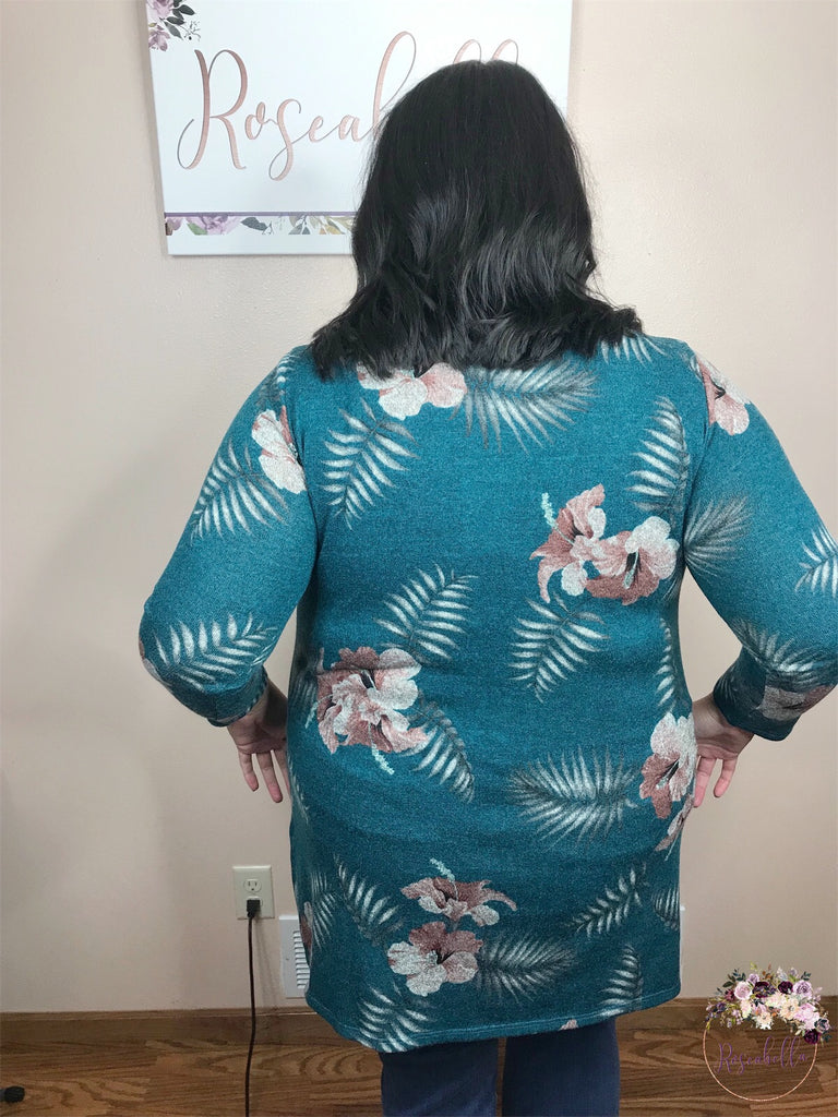 2XL & 3XL ONLY Teal Floral Sweater - RoseabellaCo