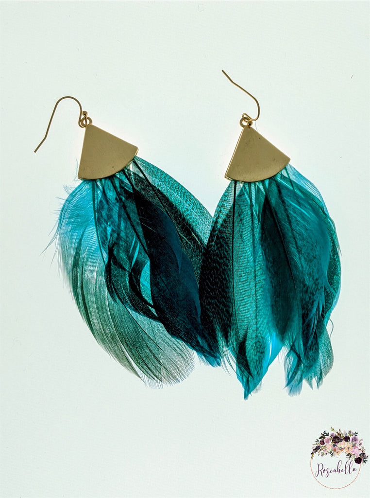 Burgundy ONLY Feather Earrings - RoseabellaCo