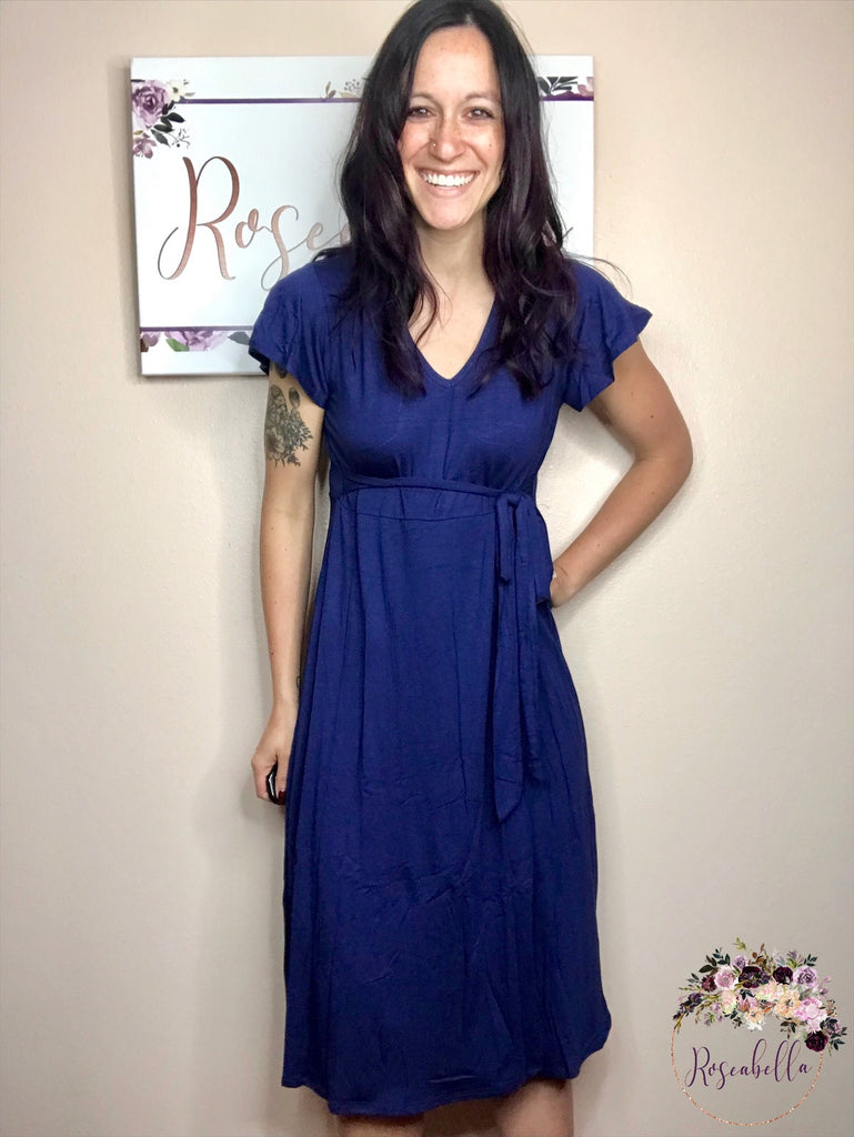 Medium ONLY Navy V-Neck Wrap Dress - RoseabellaCo
