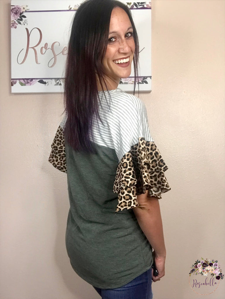 S & M ONLY Olive Leopard Flare Top - RoseabellaCo