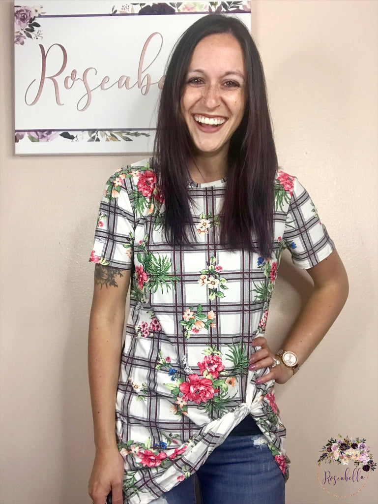 Small ONLY Plaid Floral Knot Top - RoseabellaCo