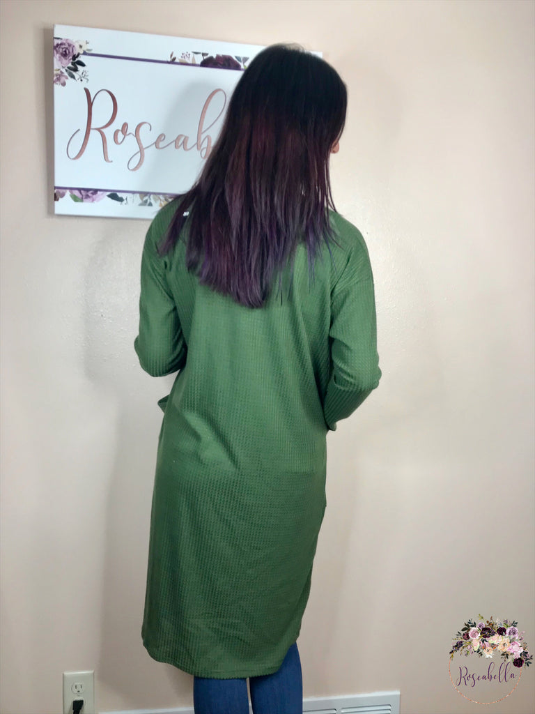 Small ONLY Olive Duster Cardigan - RoseabellaCo