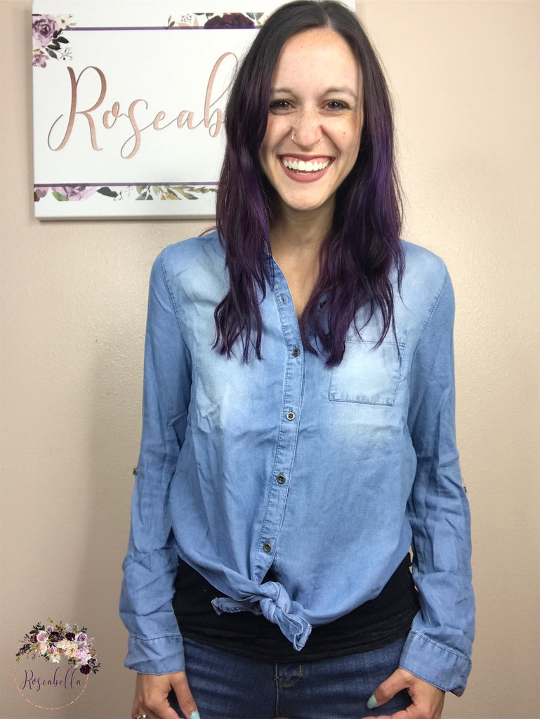Medium ONLY Chambray Country Top - RoseabellaCo
