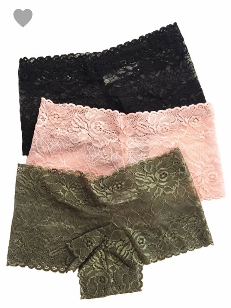 M-XL ONLY 3PK Lace Boyshorts - RoseabellaCo