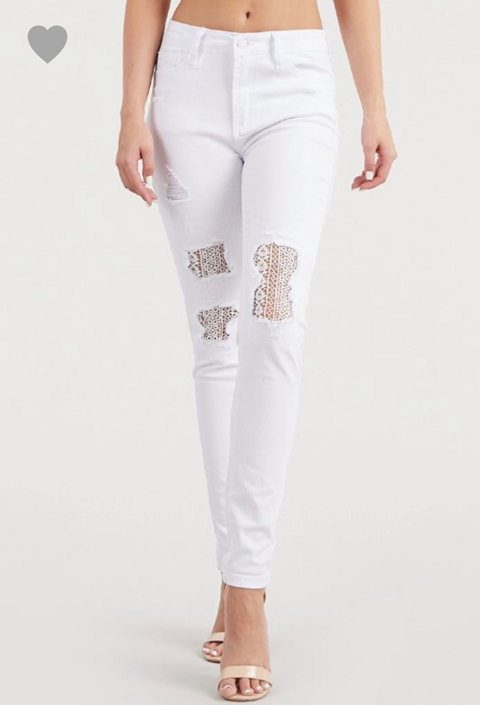 REG & PLUS White Lace Patch Skinny Jeans - Roseabella