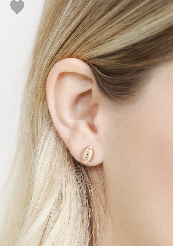 Rose Gold Football Earrings - Roseabella