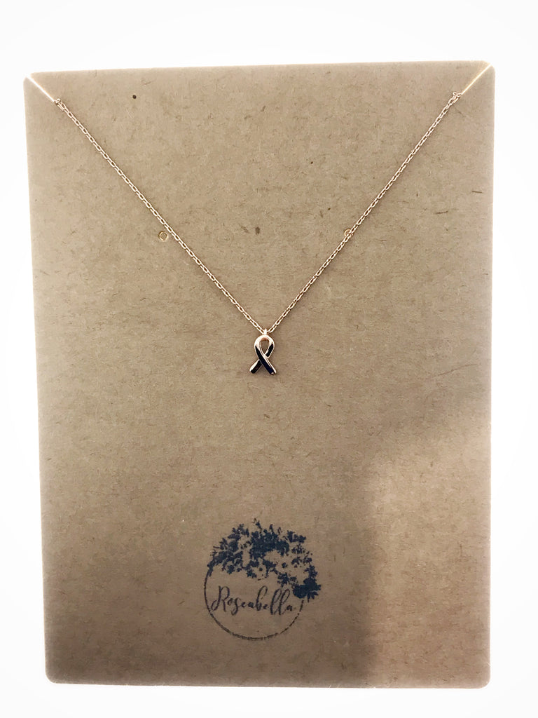 Fundraiser Cancer Ribbon Necklace - RoseabellaCo