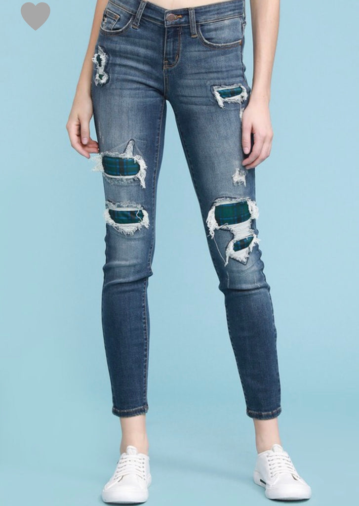 REG & PLUS Plaid Patch Skinny Jeans - RoseabellaCo