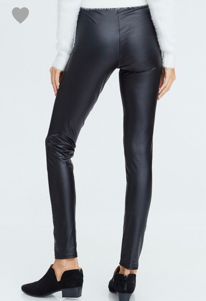 S & XL ONLY Faux Leather Leggings - Roseabella