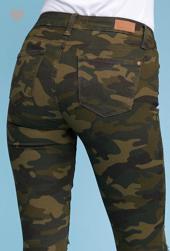 REG & PLUS Camo Distressed Skinny Jeans - RoseabellaCo
