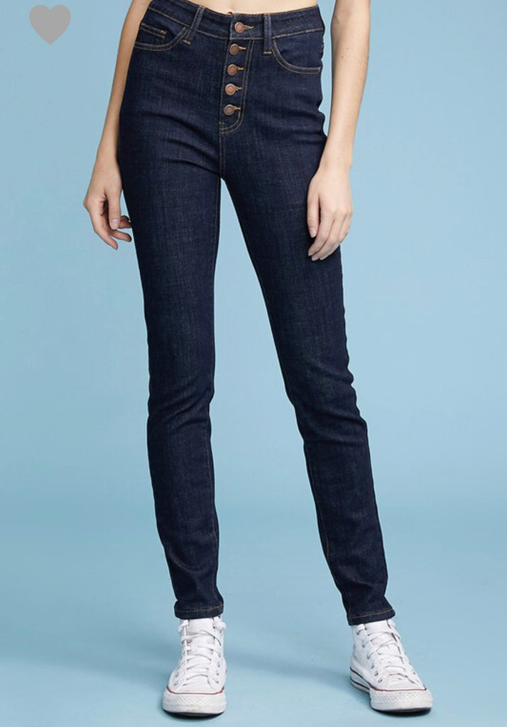SIZE 5 ONLY Button Fly Skinny Jeans - RoseabellaCo