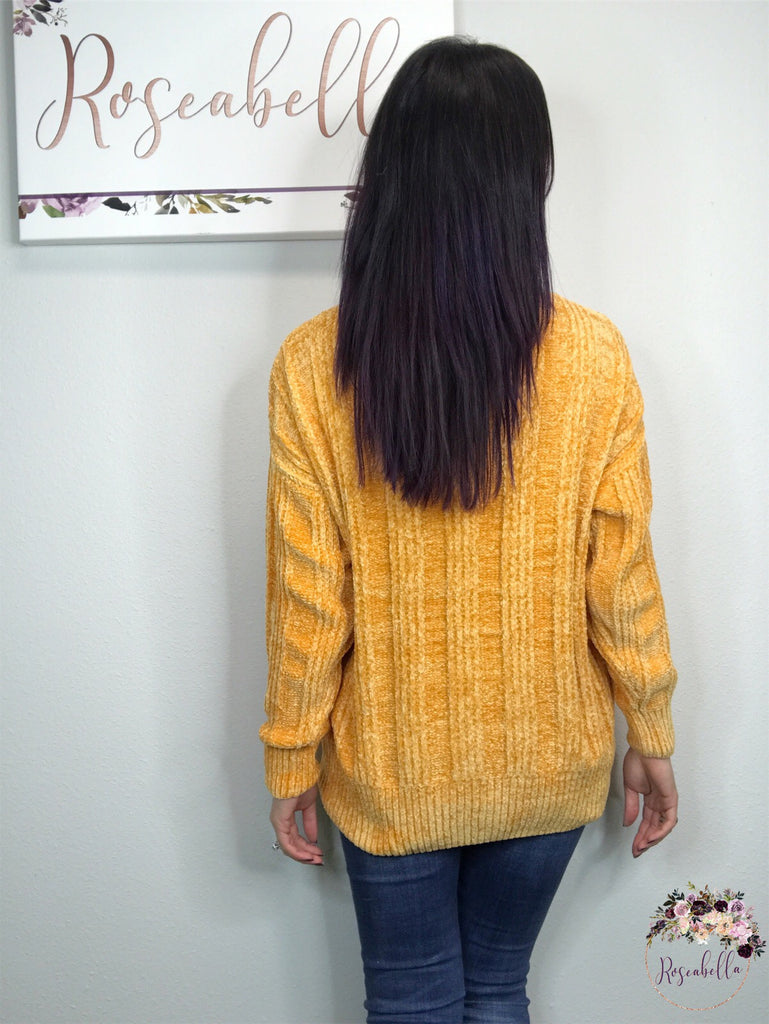 Large ONLY Ash Mustard Chenille Sweater - RoseabellaCo