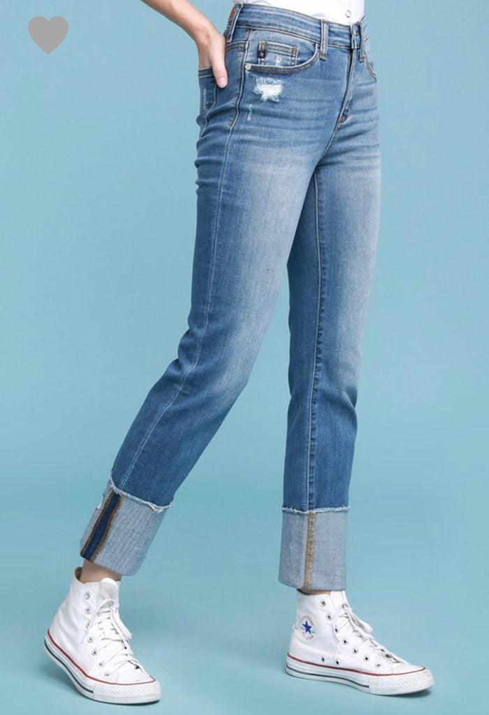REG & PLUS High Waisted Straight Leg Cuffed Jeans - RoseabellaCo