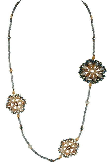 Crystal Beaded Flower Necklace & Earrings Set - Roseabella