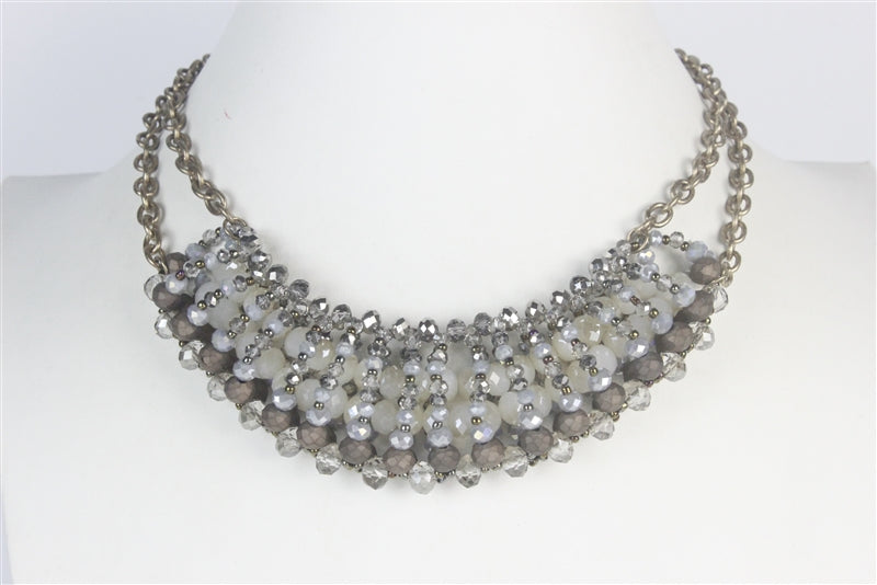 Gray Crystal Necklace & Earrings Set - Roseabella
