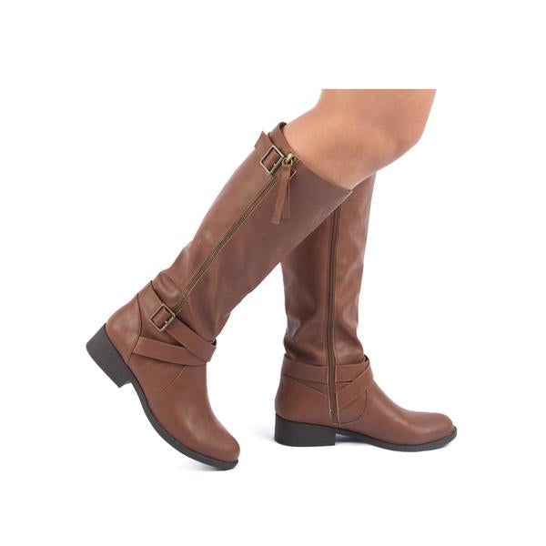 Cognac Knee-High Boots - RoseabellaCo