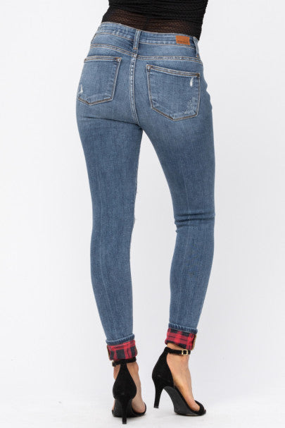 REG & PLUS Red Plaid Patch Skinny Jeans - RoseabellaCo
