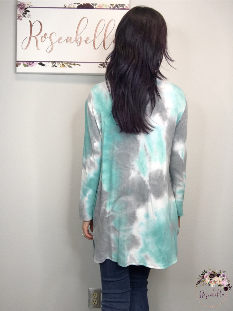 Large ONLY Mint Tie Dye Cardigan - RoseabellaCo