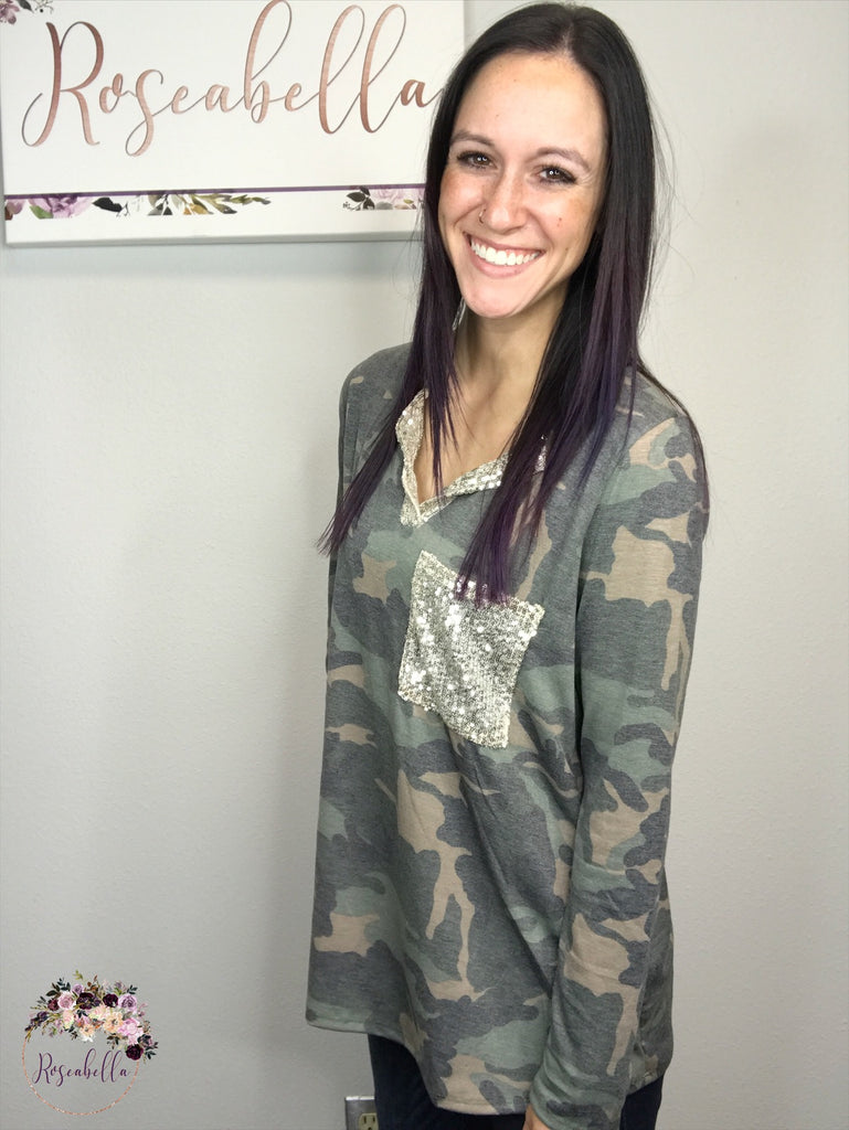 Small ONLY The Camo Glam Top - RoseabellaCo