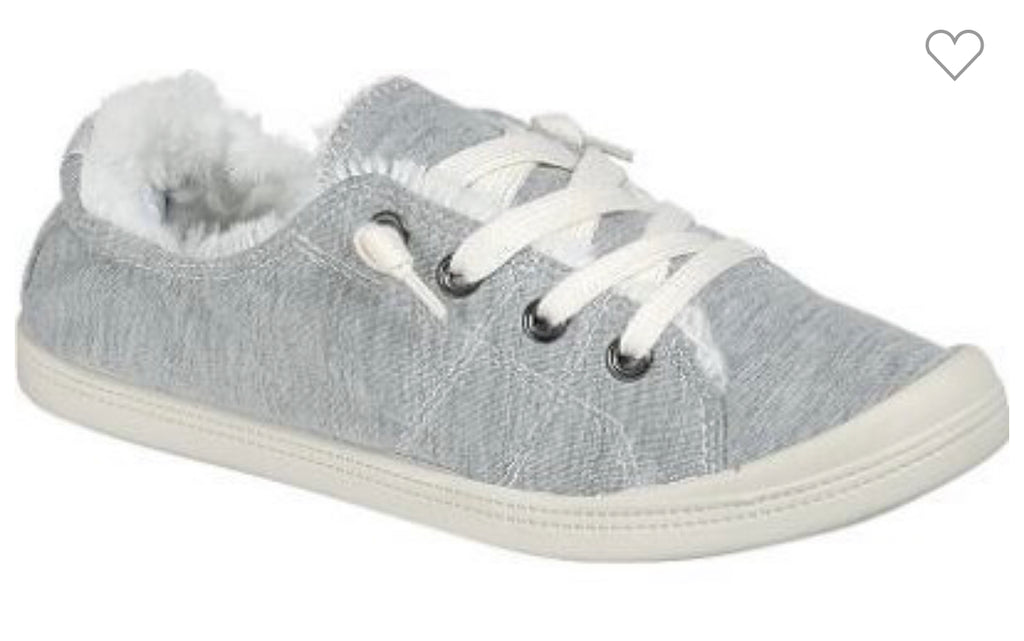 Gray Fur-Lined Sneakers - RoseabellaCo