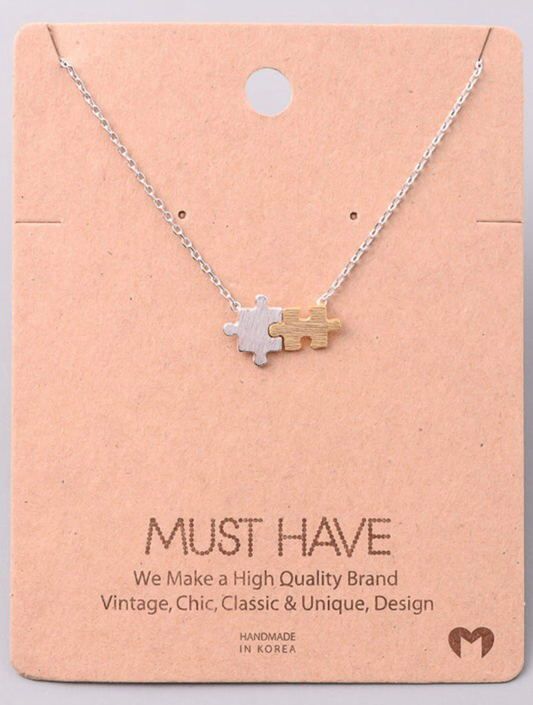 Autism Awareness Puzzle Piece Necklace - RoseabellaCo