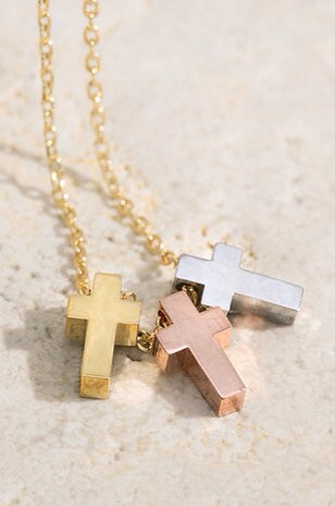 Tri Cross Pendant Necklace - RoseabellaCo