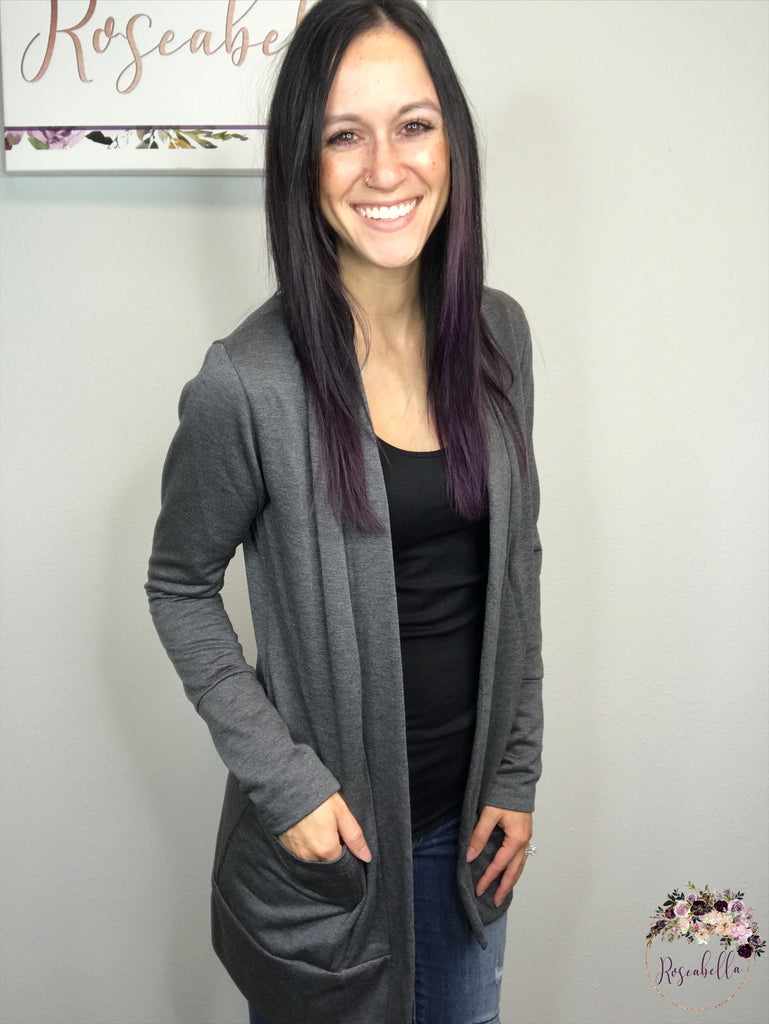 The Charcoal Chic Cardigan - Roseabella