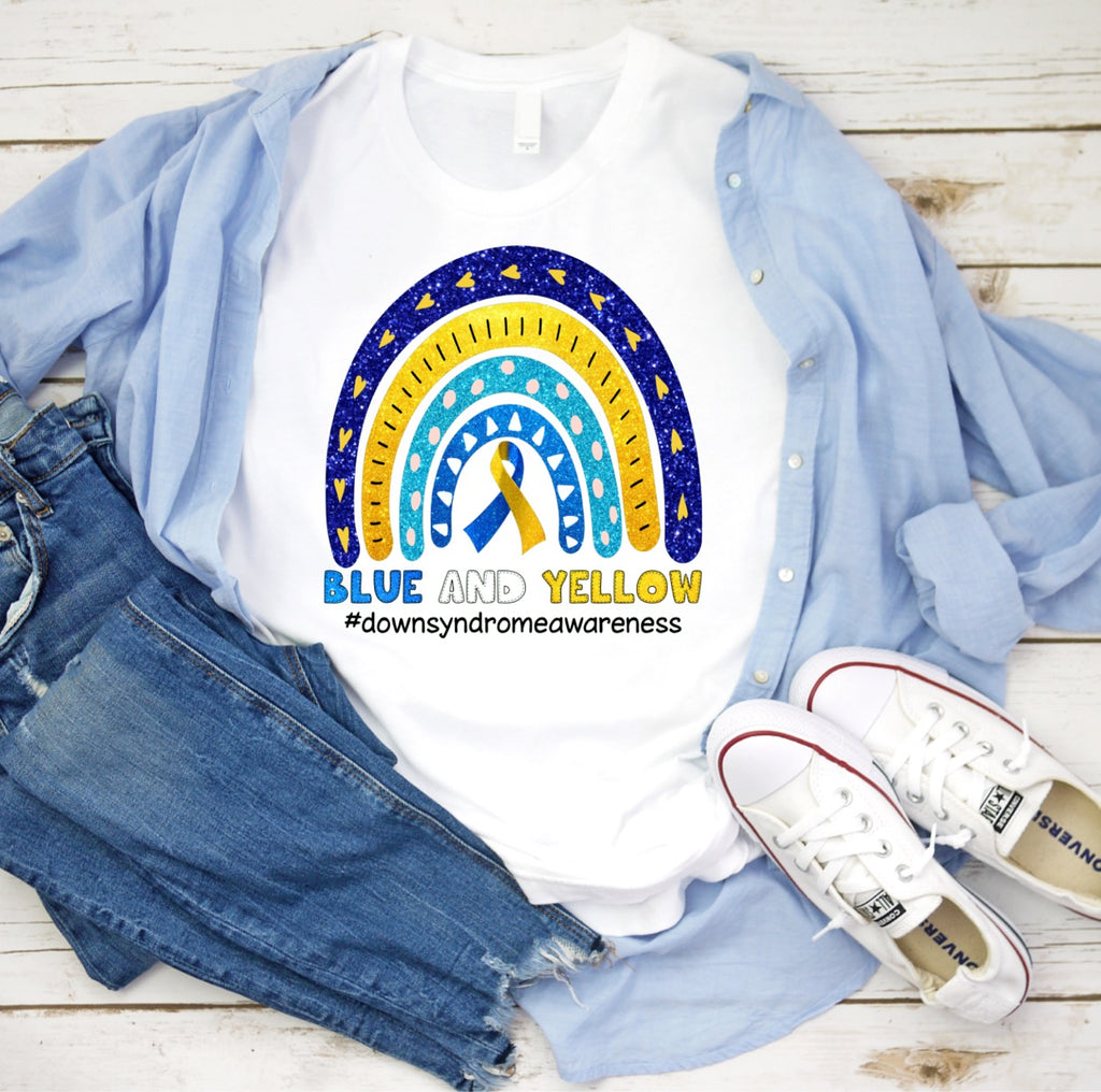 REG & PLUS Down Syndrome Awareness Rainbow Tee - RoseabellaCo