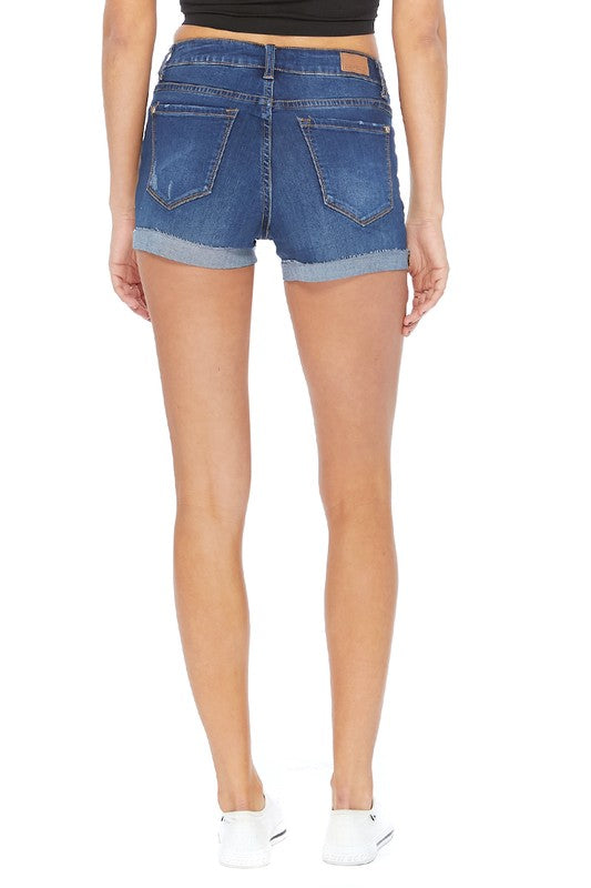 Small ONLY Dark Blue Cut-Off Cuff Shorts - RoseabellaCo