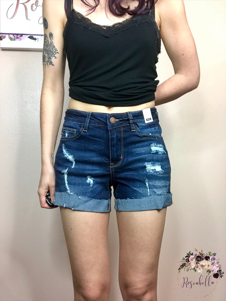 Small ONLY Dark Blue Raw Hem Cuff Shorts - RoseabellaCo