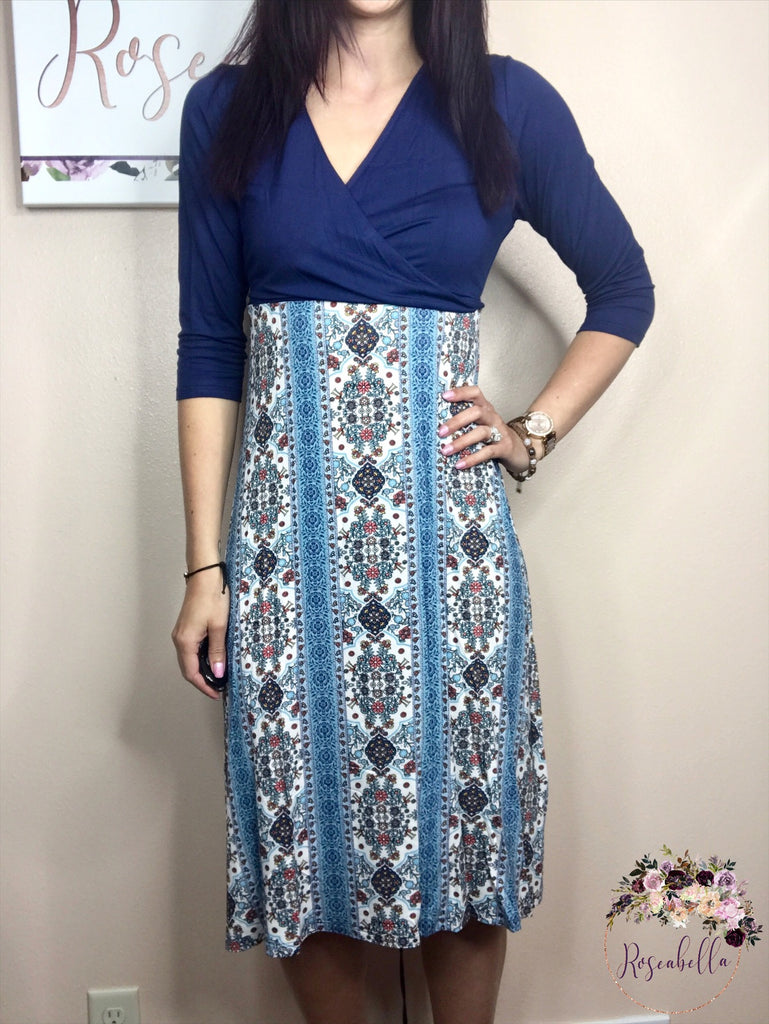 S & M ONLY Navy Paisley Floral Dress - RoseabellaCo