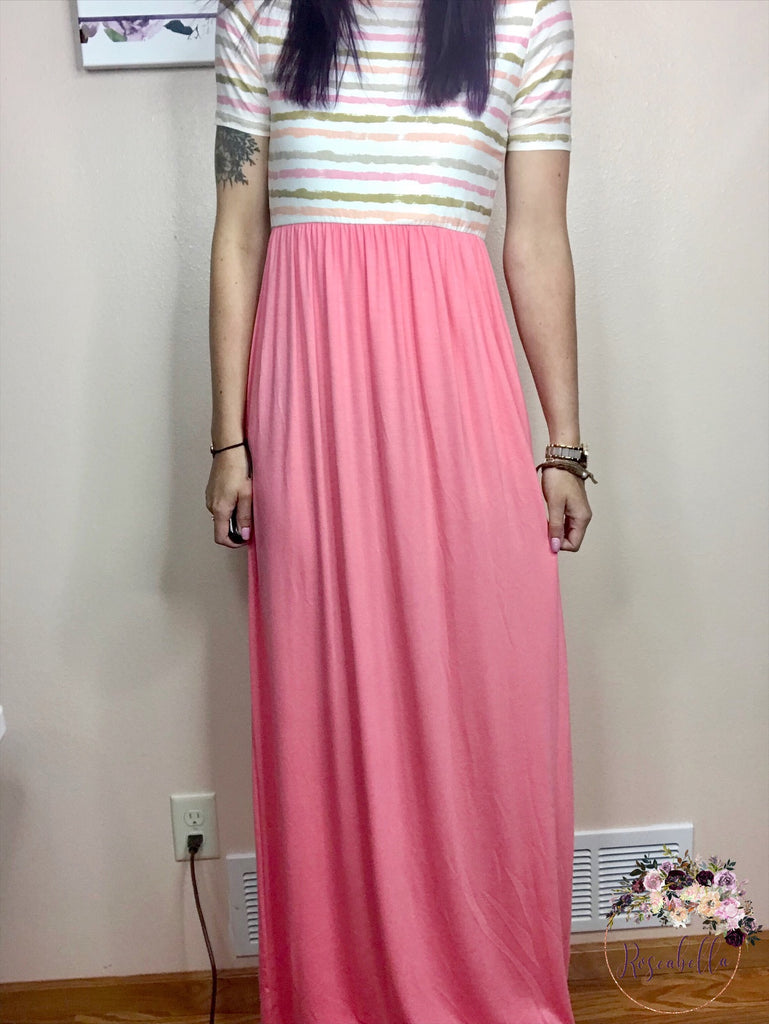 XXX Pink Stripe Maxi Dress - Roseabella