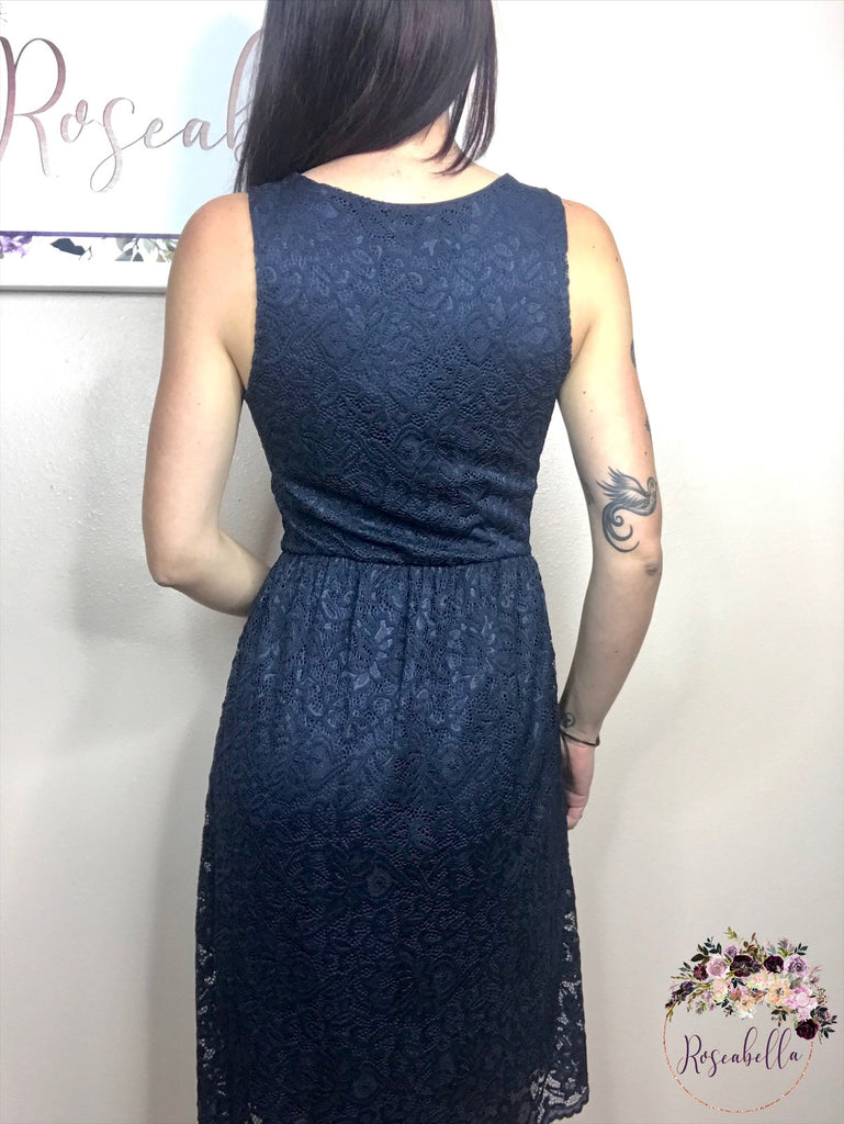 Medium ONLY All Lace Navy Dress - RoseabellaCo