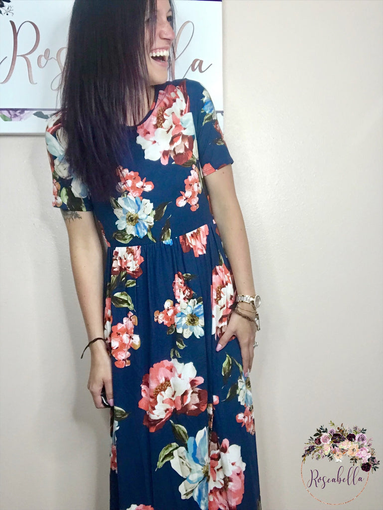 Small ONLY Navy Floral Maxi Dress - RoseabellaCo