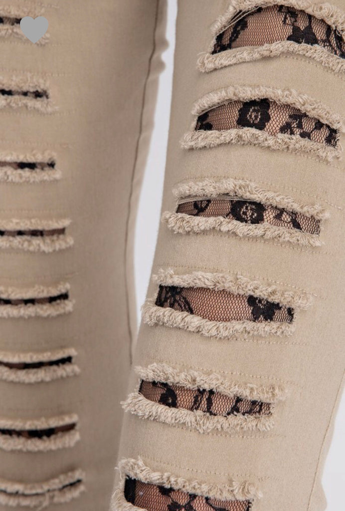 S & M ONLY Distressed Taupe Lace Insert Jeggings - RoseabellaCo
