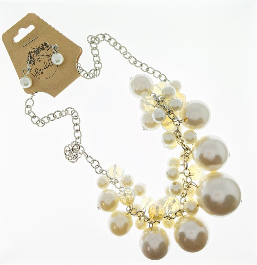 Pearl Cluster Necklace & Earring Set - RoseabellaCo