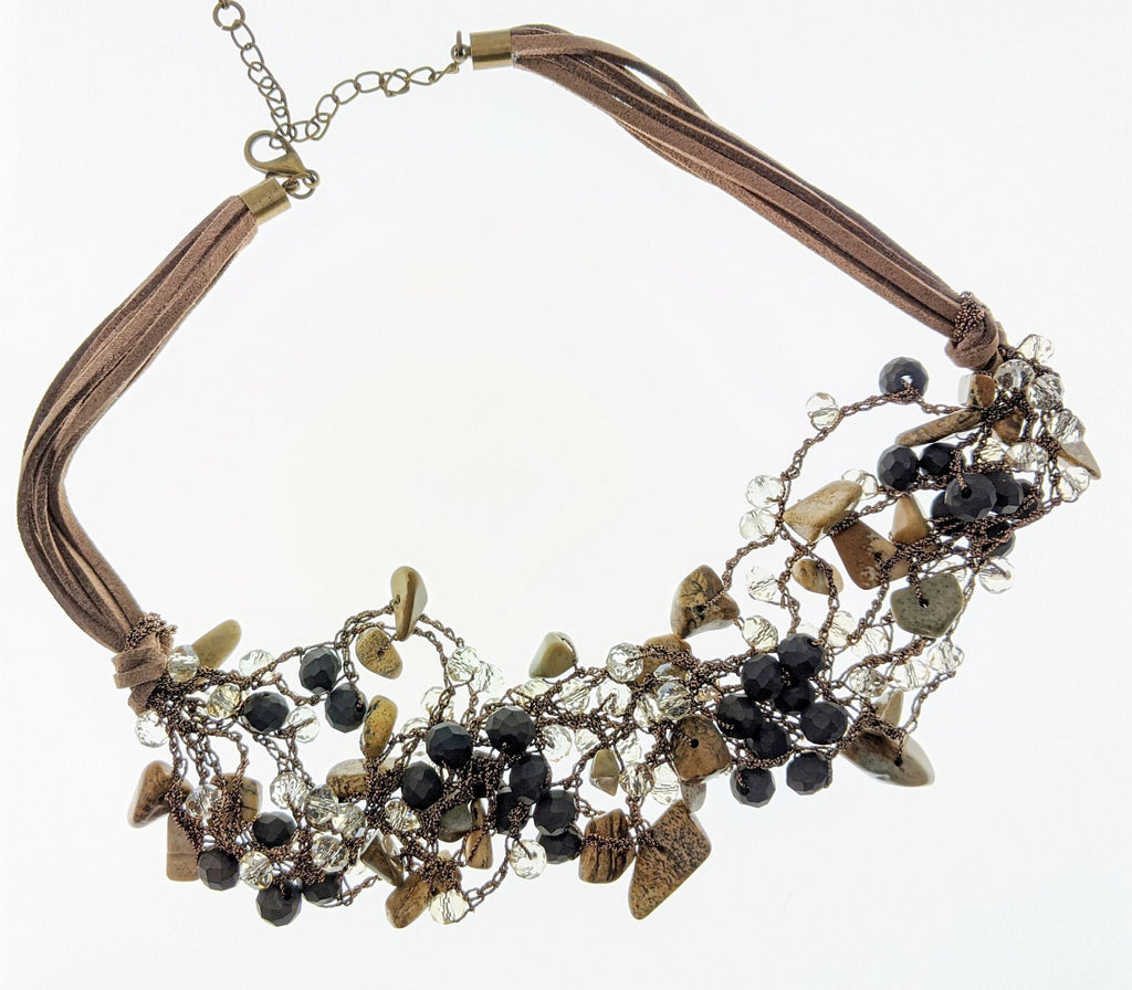 Brown Stone Beads Collar Necklace - Roseabella
