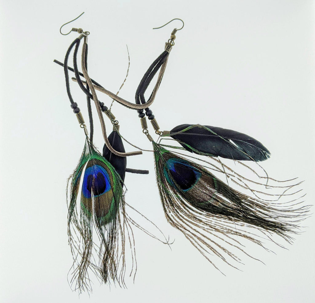 Peacock Feather Earrings - RoseabellaCo