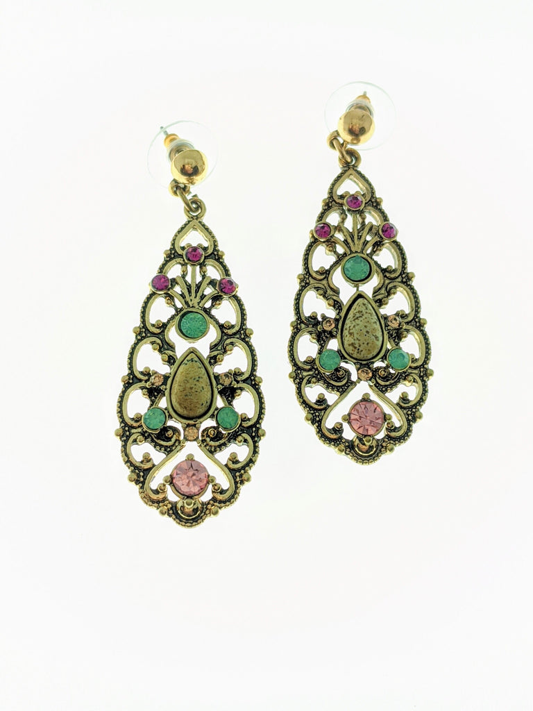 Filigree Teardrop Rhinestone Earrings - Roseabella