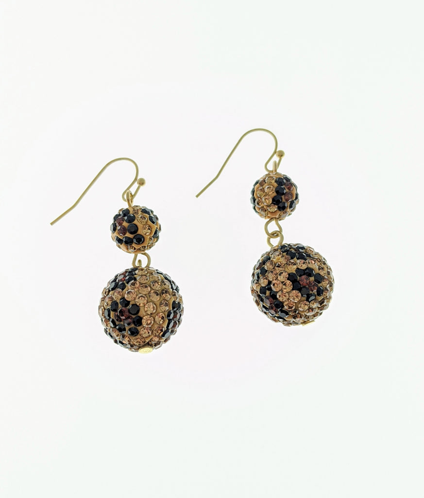 Leopard Printed Rhinestone Earrings - Roseabella
